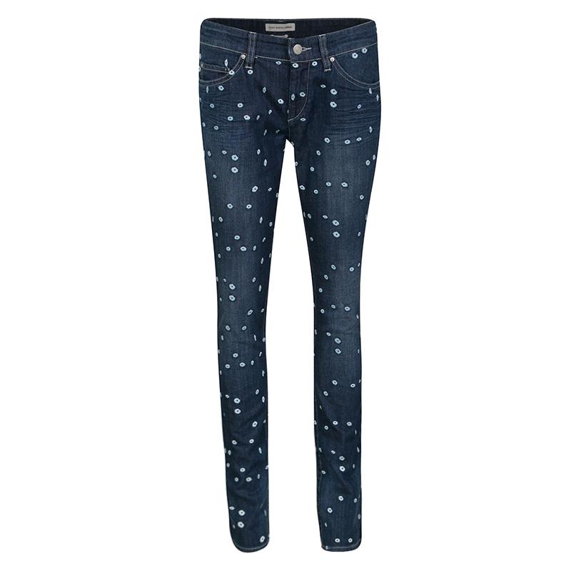 Isabel Marant Etoile Indigo Dark Wash Denim Dot Embroidered Rumba Pants M