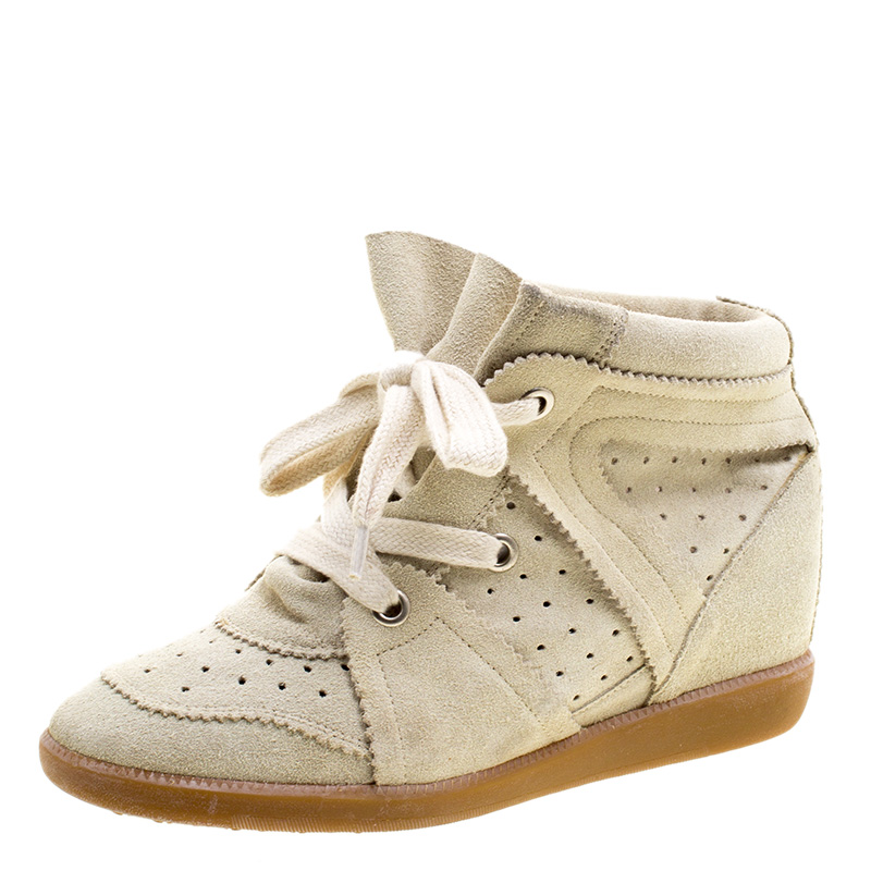 3ab1ffecb9 ... Isabel Marant Beige Suede Bobby Wedge Sneakers Size 40. nextprev.  prevnext