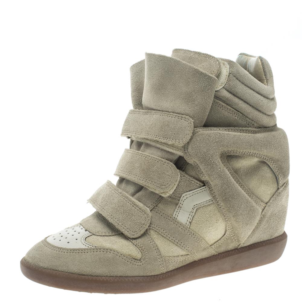 3e63bcc48b Buy Isabel Marant Beige Suede Bekett Wedge Sneakers Size 37 124546 ...