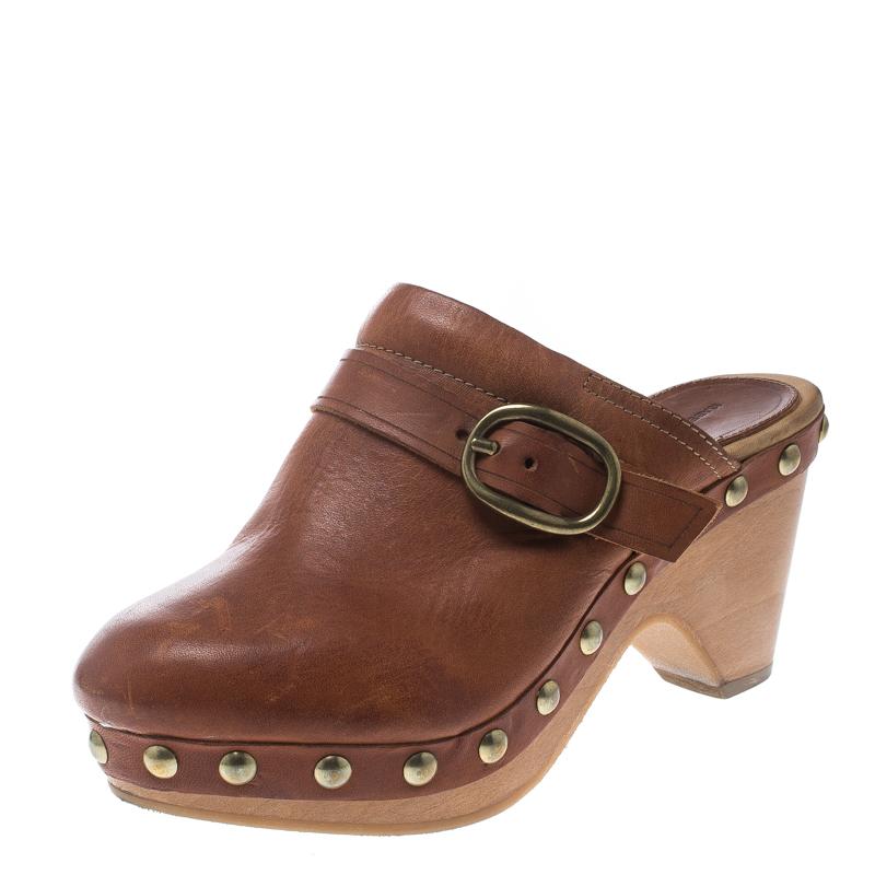 97c0c2e1074f4 Isabel Marant Brown Leather Studded Platform Clogs Size 37