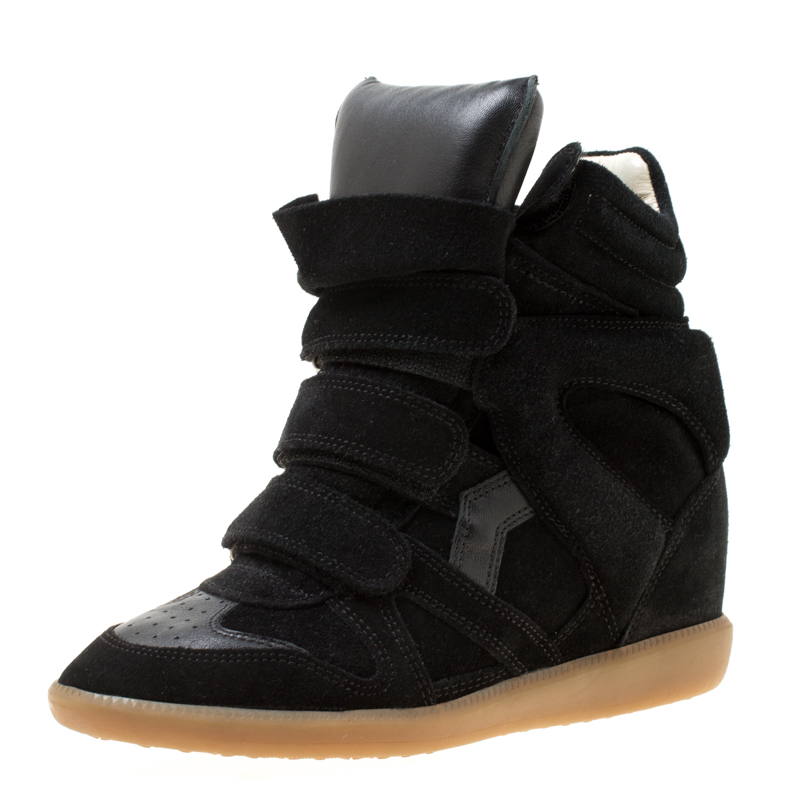 327c5f09b6c Buy Isabel Marant Black Suede And Leather Bekett Wedge Sneakers Size ...