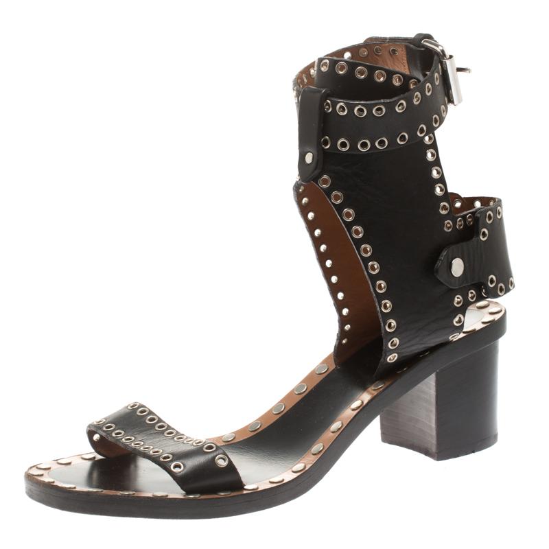 852a7ad103 ... Isabel Marant Black Studded Leather Jaeryn Ankle Strap Sandals Size 40.  nextprev. prevnext