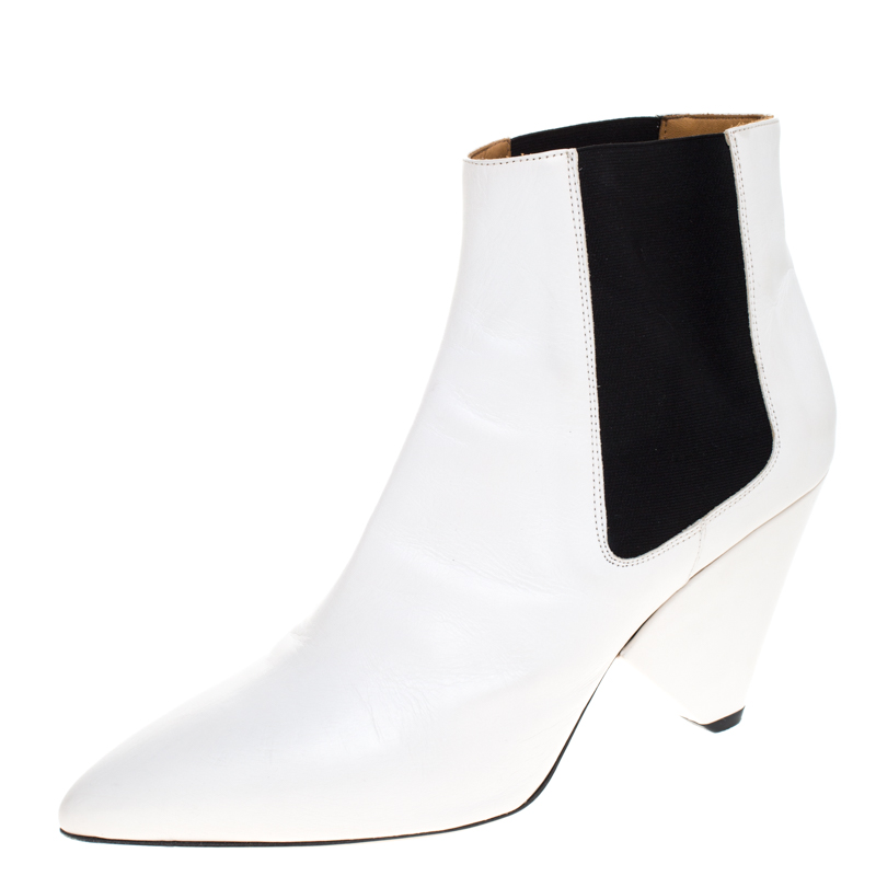 Isabel Marant White Leather And Black Elastic Lashby Ankle Boots Size 40