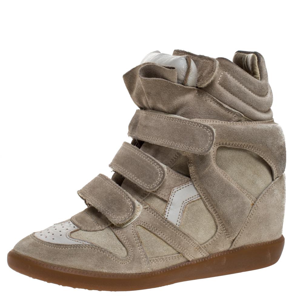 Isabel Marant Light Olive Green Suede Bekett Wedge Sneakers Size 37