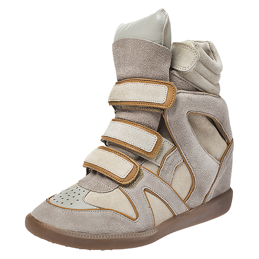 Isabel Marant Grey/brown Suede And Leather Bekett Wedge Sneakers Size 37