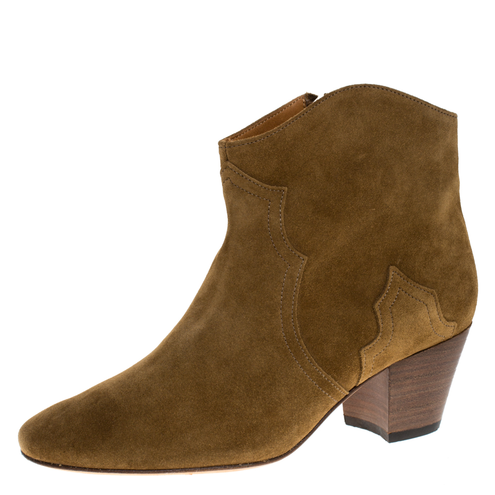 Isabel Marant Khaki Suede Dicker Ankle Boots Size 37 In Brown