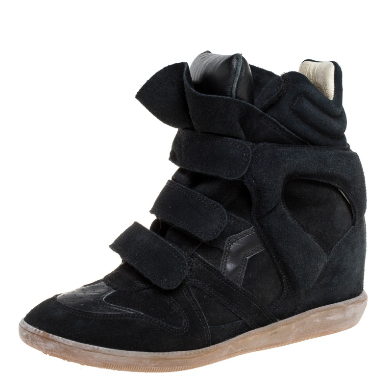 Isabel Marant Black Suede Leather Beckett Wedge High Top Sneakers Size 39