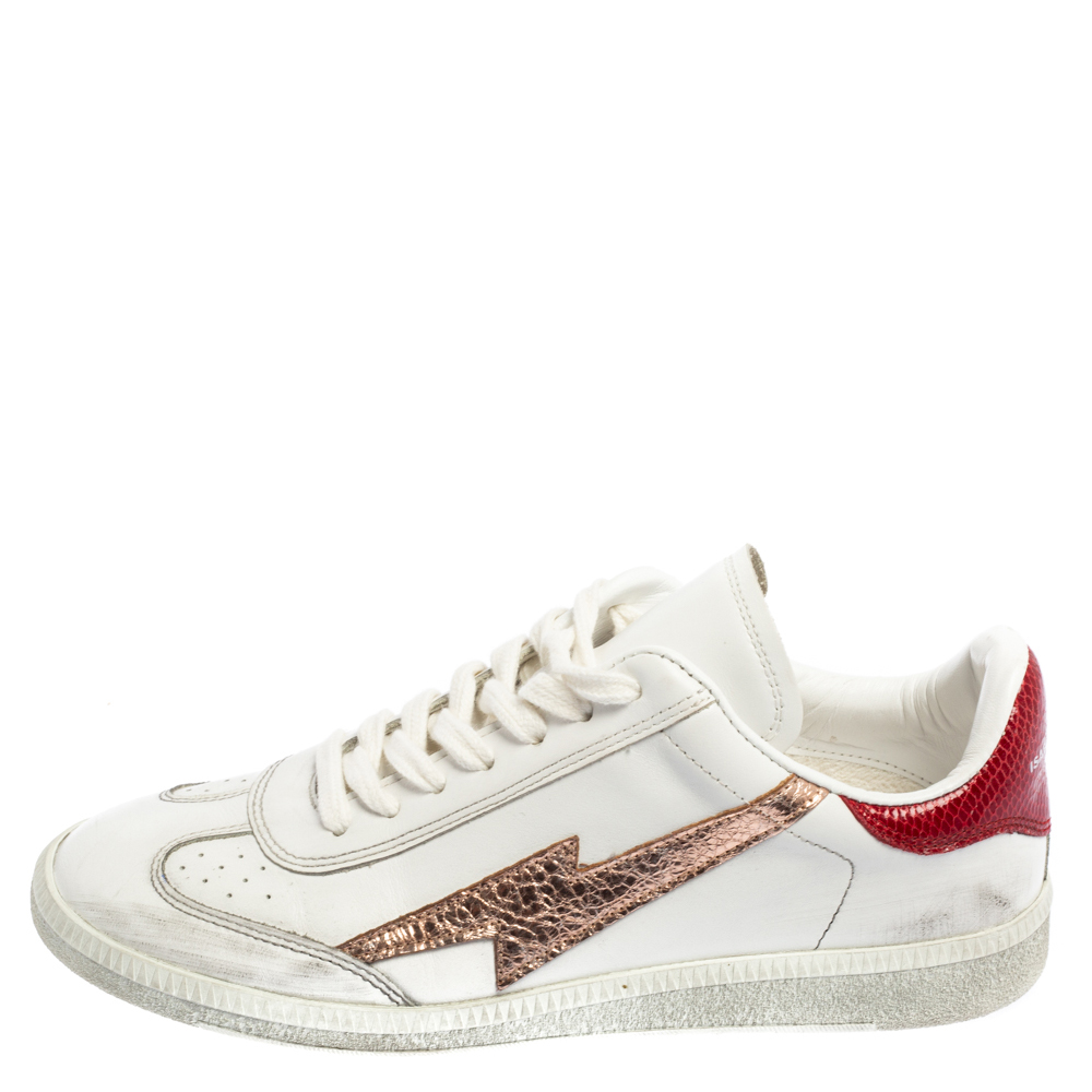 Isabel Marant White/Red Distressed Leather Bryce Low Top Sneakers Size 38
