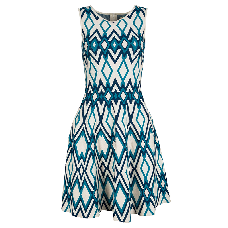 Issa Multicolor Knit Diamond Pattern Sleeveless Fit and Flare Dress S