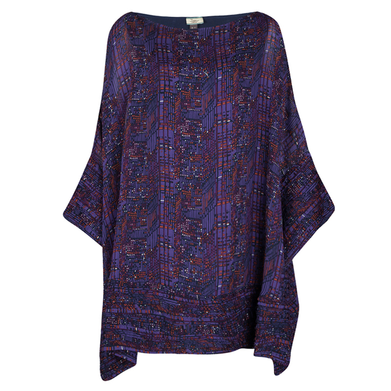 Issa Purple Printed Silk Frayed Trim Detail Oversized Tunic S