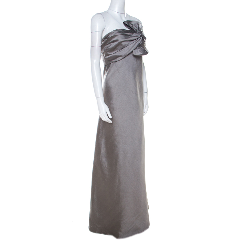 J Mendel Grey Silk Blend Strapless Front Bow Detail Gown