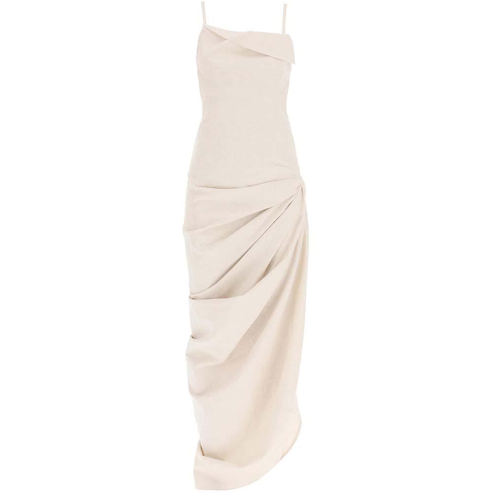 JACQUEMUS BEIGE COTTON-LINEN BLEND ASYMMETRIC RUCHED DRESS SIZE FR 38