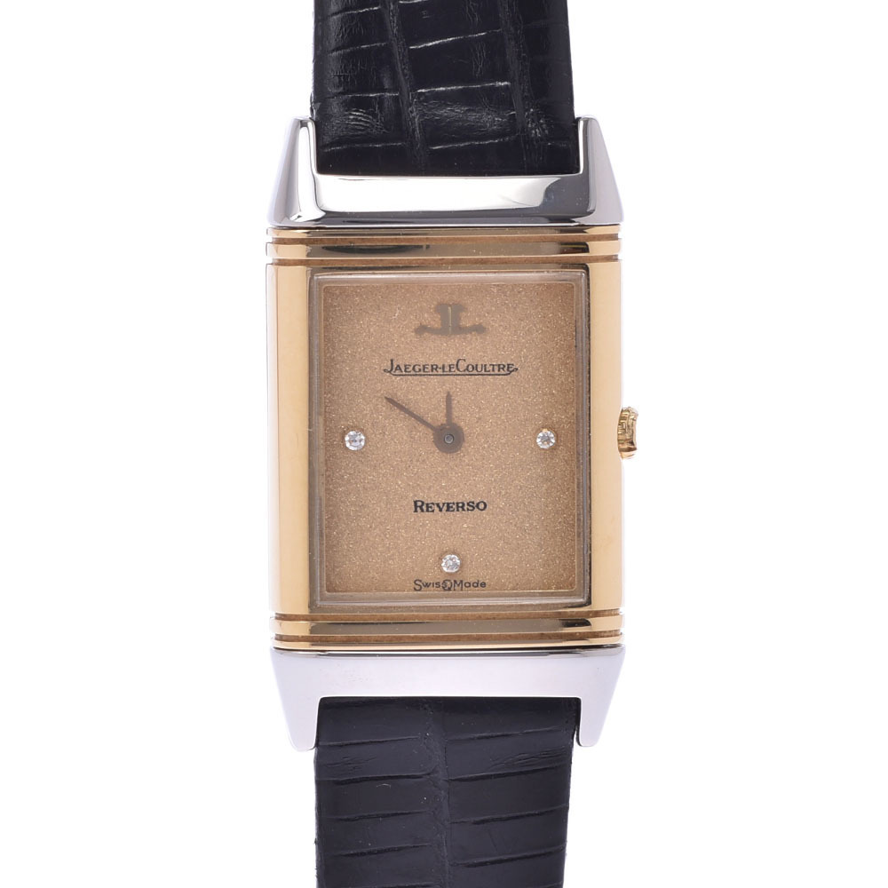 Pre-owned Jaeger-lecoultre Champagne 18k Yellow Gold And Stainless Steel Mini Reverso 140.106.5 Quartz Women's