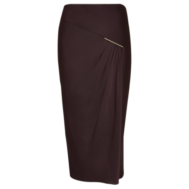 Jason Wu Aubergine Draped Tie-Bar Midi-Skirt M