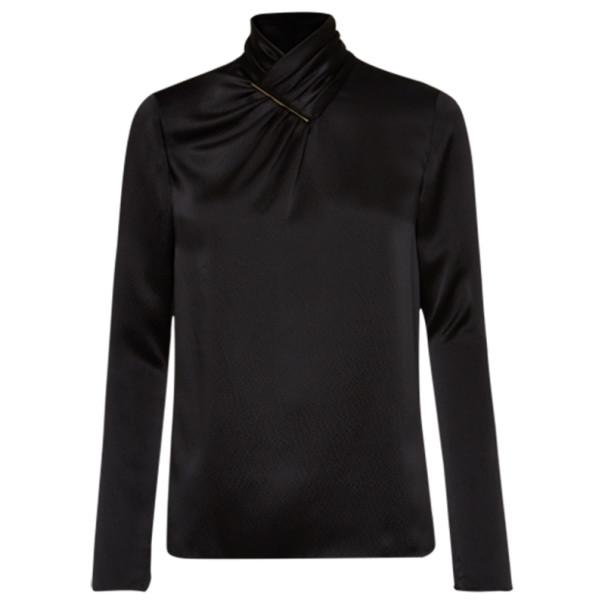 Jason Wu Black Hammered Silk Blouse S