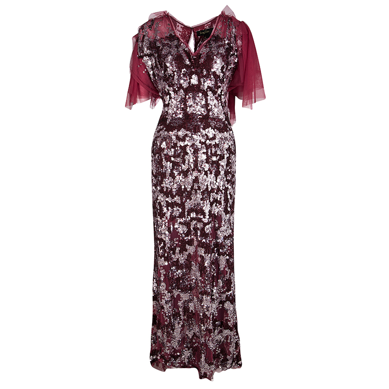 Buy Jenny Packham Red Sequin Embellished Ruffled Sleeve Maxi Dress L