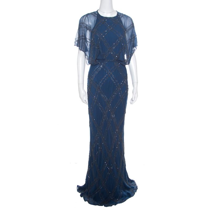 Jenny Packham Blue Embellished Silk Cutout Back Detail Blouson Gown