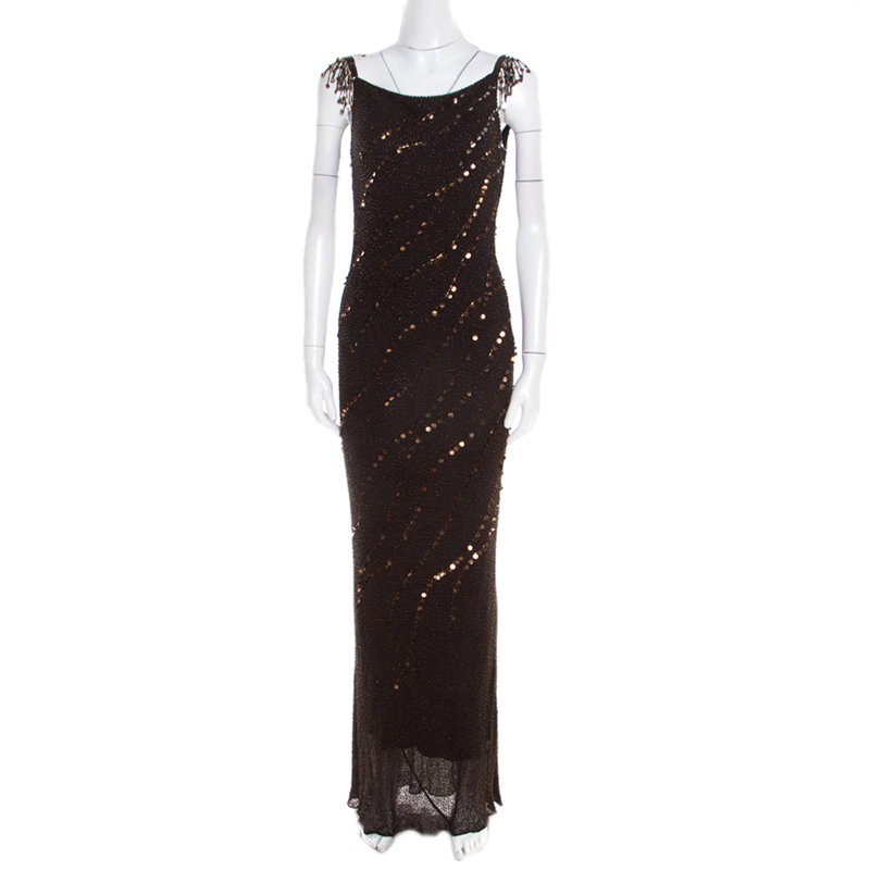 Jenny Packham Brown Beaded Tassel Detail Sleeveless Gown and Scarf Set