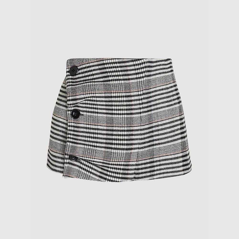 Jil Sander Grey Checkered Button Detail Wool-Blend Waist Belt DE 40