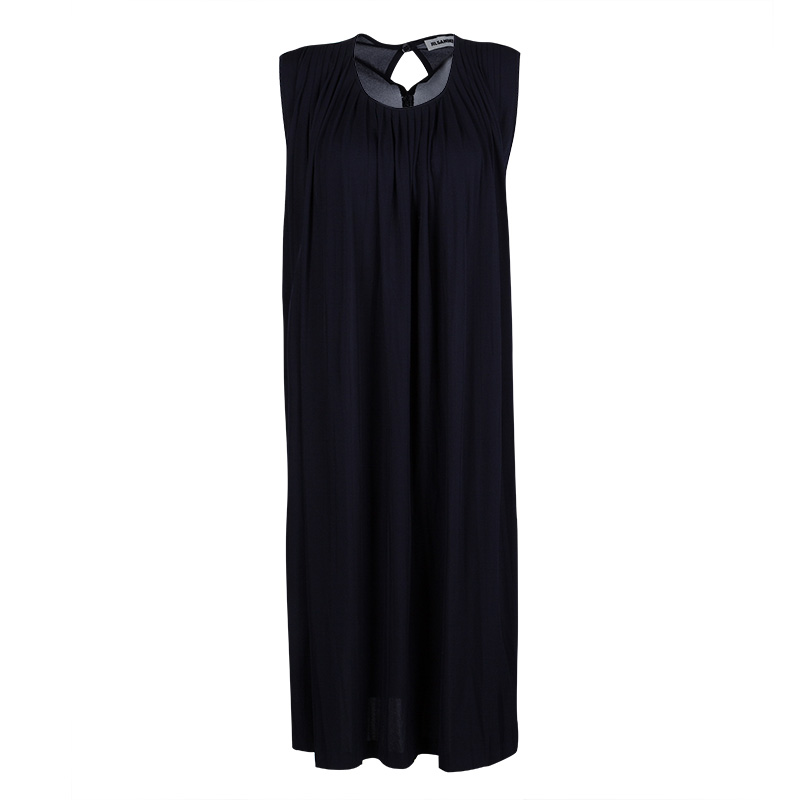 Jil Sander Navy Blue Knit Pleated Sleeveless Dress L