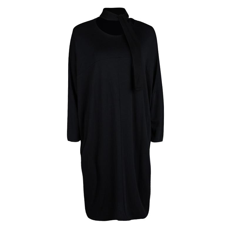 Jil Sander Black Slub Jersey Neck Tie Detail Oversized Dress M