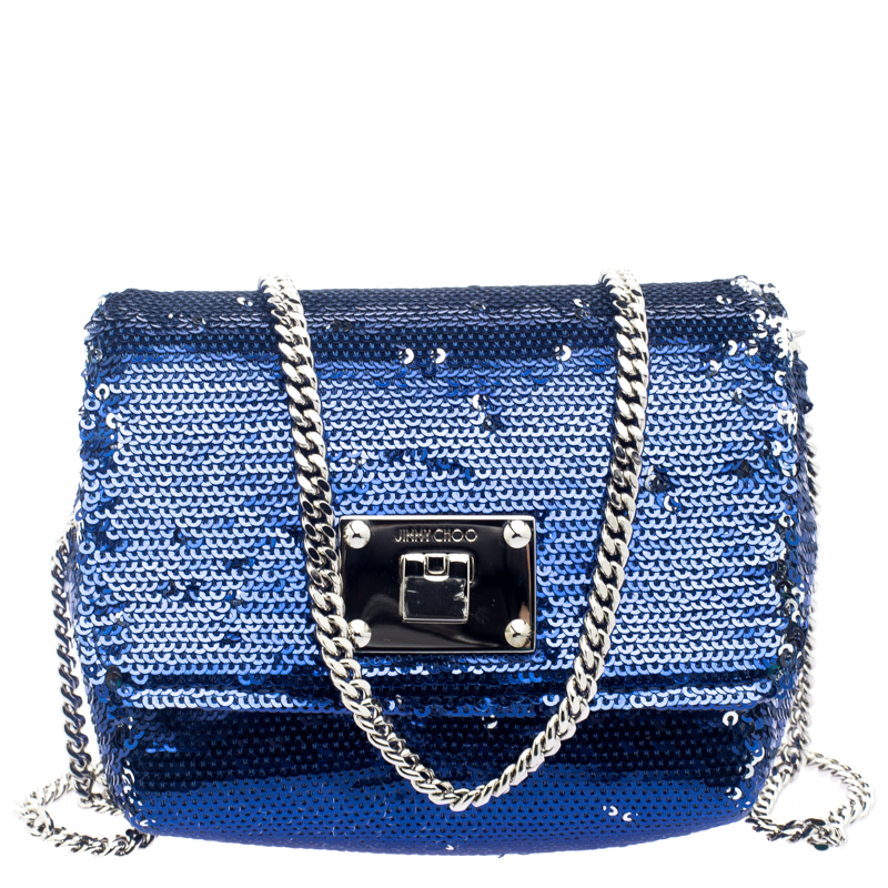 0806e31cbc Buy Jimmy Choo Blue/Silver Sequined Ruby Clutch 111388 at best price ...