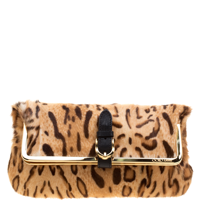 popular design attractive & durable sells Jimmy Choo Leopard Print Calfhair Frame Foldover Clutch