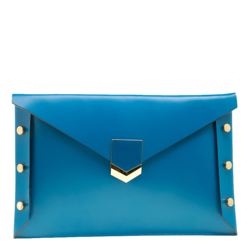 Jimmy Choo Robot Blue Leather Lockett Envelope Clutch