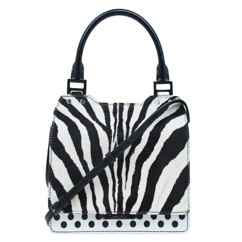 Jimmy Choo Black White Zebra Print Calf Hair And Leather Amie Satchel