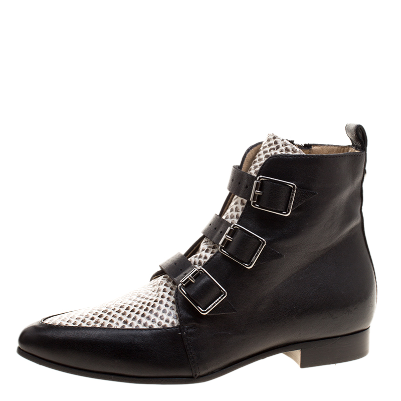 881cc9d3f96 Buy Jimmy Choo Black and Snake Embossed Leather Marlin Boots Size 35 ...