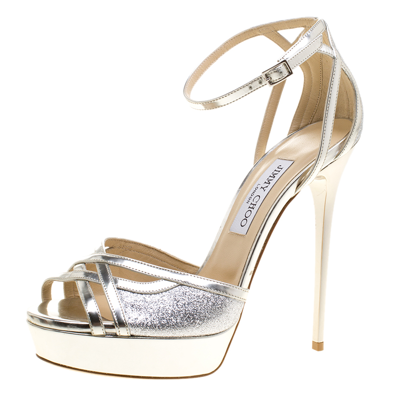 b6788b1a5d0e ... Jimmy Choo Metallic Silver Leather and Glitter Laurita Platform Ankle  Strap Sandals Size 40. nextprev. prevnext