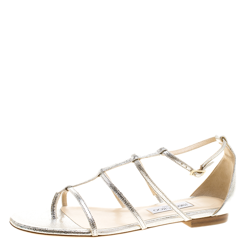 51e7e63475 Buy Jimmy Choo Metallic Silver Textured Leather Dory Open Toe Flat ...