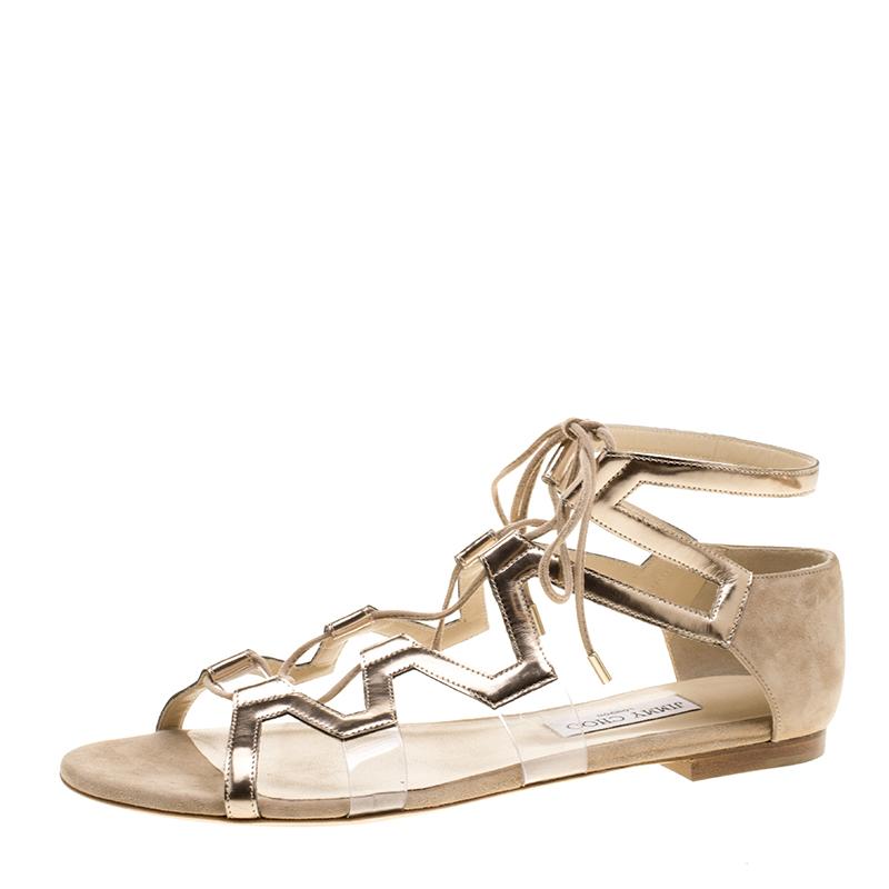 429617953e86 ... Jimmy Choo Metallic Bronze Leather Dell Lace Up Open Toe Flat Sandals  Size 41. nextprev. prevnext