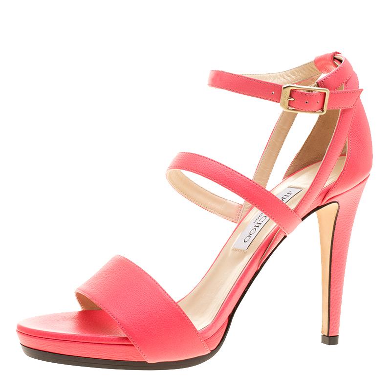 1859199a1b0 ... Jimmy Choo Pink Leather Dose Ankle Strap Sandals Size 41. nextprev.  prevnext