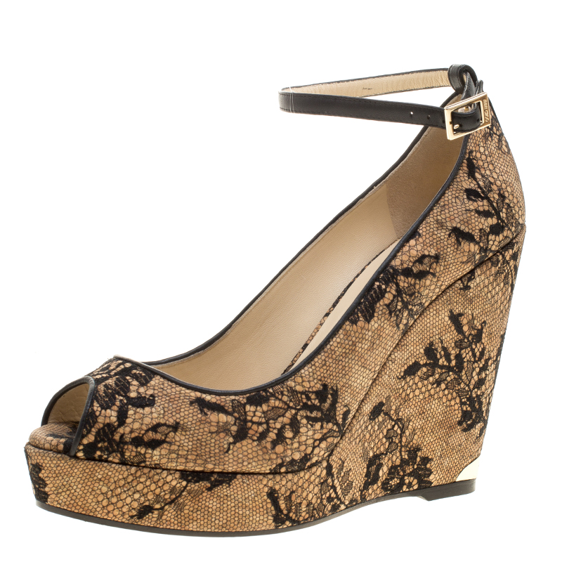 eab73ae6bf ... Jimmy Choo Beige Cork and Lace Pacific Peep Toe Ankle Strap Wedge Pumps  Size 41. nextprev. prevnext