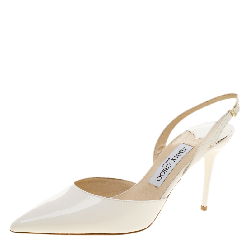 e36a21a17bc52 Buy Jimmy Choo White Patent Leather Tilly Pointed Toe Slingback ...