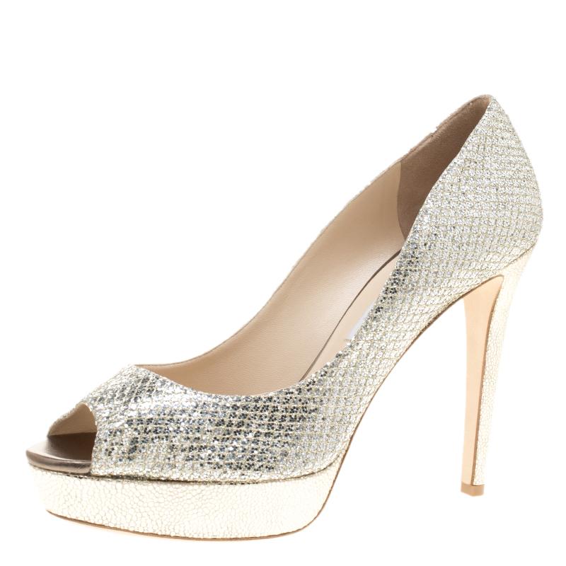 f0c5ec48202 ... Silver Glitter Fabric Dahlia Platform Peep Toe Pumps Size 41. nextprev.  prevnext