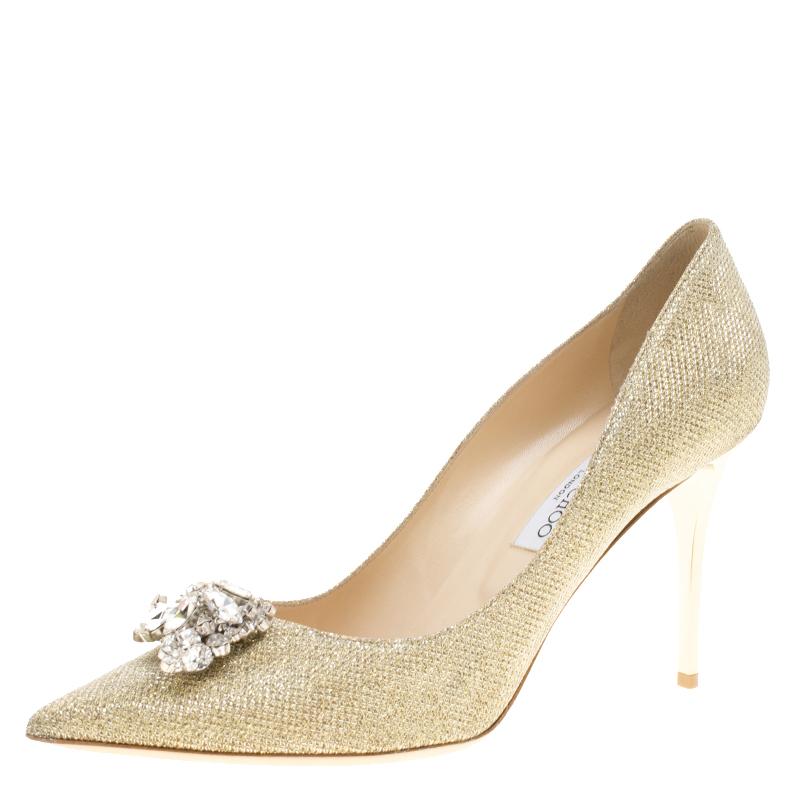 3090dda88d Buy Jimmy Choo Metallic Gold Lamè Glitter Fabric Mamey Crystal ...