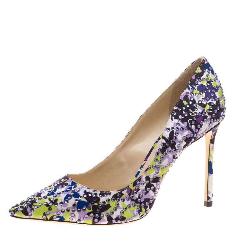 e478924d7216 ... Jimmy Choo Multicolor Floral Print Crystal Embellished Satin Romy  Pointed Toe Pumps Size 40. nextprev. prevnext