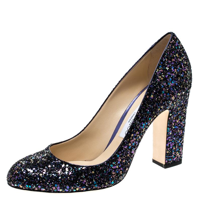 35d7382497 Buy Jimmy Choo Metallic Blue Coarse Glitter Billie Block Heel Pumps ...