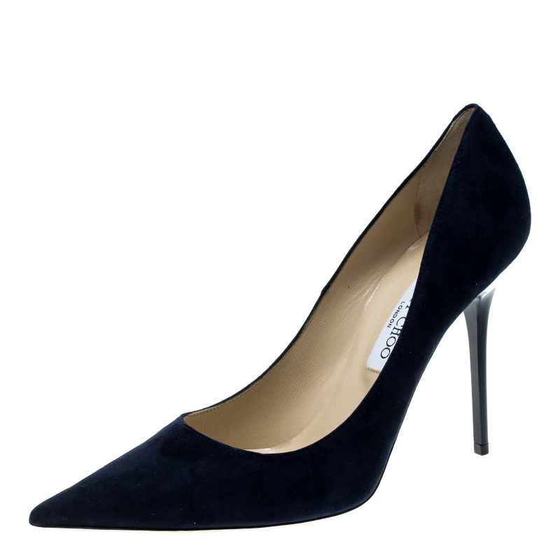 ff0b0843c7cc Buy Jimmy Choo Navy Blue Suede Abel Pointed Toe Pumps Size 41 142221 ...