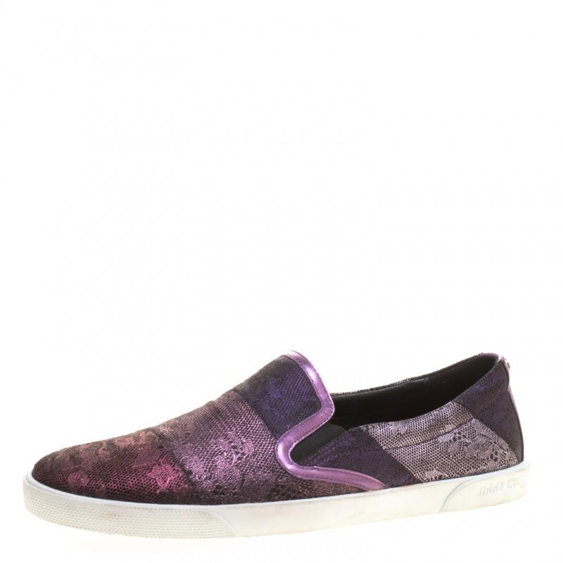 Jimmy Choo Metallic Purple Lace Demi Slip On Sneakers Size 41