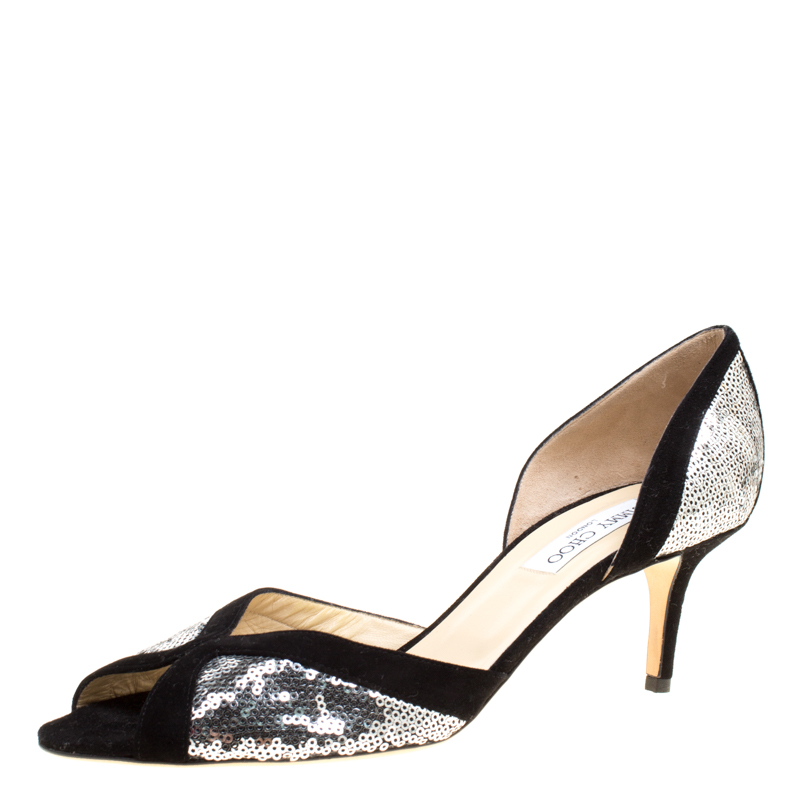 cfe8be7fcfd ... Silver Sequins and Black Suede Peep Toe D'orsay Pumps Size 42. nextprev.  prevnext