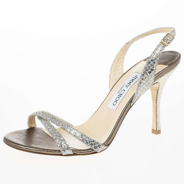 d2f26e21695 Buy Jimmy Choo Silver India Glitter Slingback Sandals Size 38 16725 at best  price | TLC