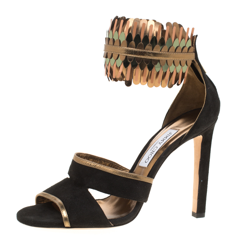 16ce70cb5 Buy Jimmy Choo Black Suede and Metallic Mirrored Leather Klara Ankle ...