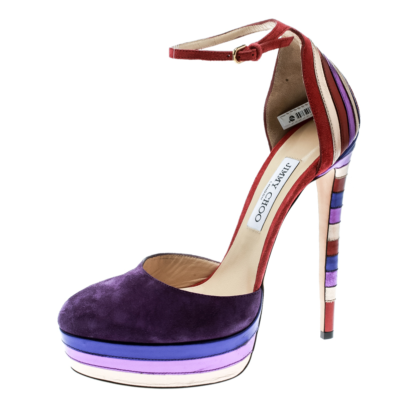 50ab8857290 ... Jimmy Choo Purple Suede and Metallic Leather Macy Ankle Strap Platform Sandals  Size 40. nextprev. prevnext