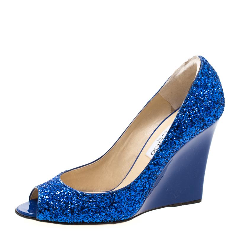 Jimmy Choo Bleu Glitter Bello Peep Toe Pompes Taille 39