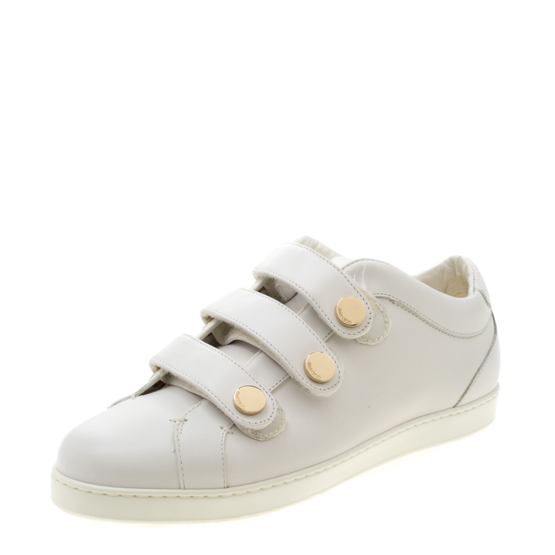 Jimmy Choo White Leather Trainers Low