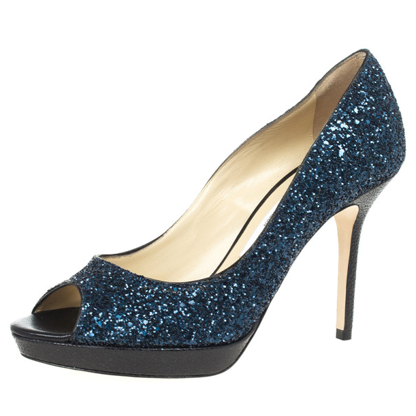 4e0b21134f5 ... Jimmy Choo Blue Coarse Glitter Luna Peep Toe Pumps Size 37.5. nextprev.  prevnext