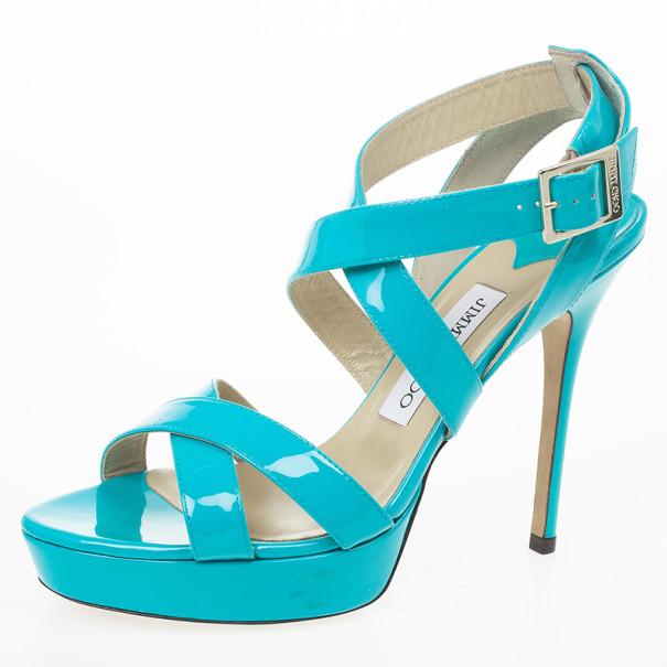 Jimmy Choo Sky Blue Patent Leather Vamp Sandals Size 38.5